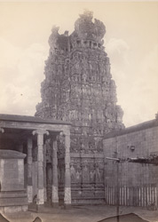 Madura. The Great Pagoda [Minakshi Sundareshvara Temple]. Inner tower at entrance to sanctum